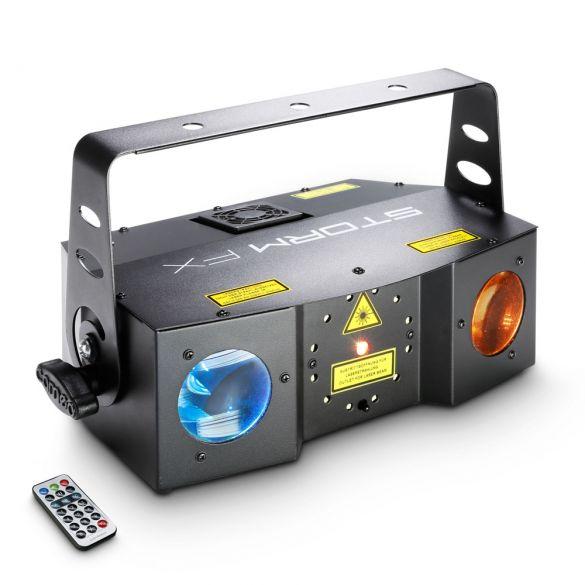 3-in-1 Lichteffekt mit Grating-Laser, Strobe und Derby-Effekt inkl. IR-Fernbedienung